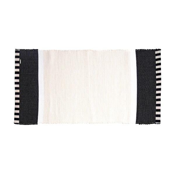Koberec Lona Stripes 130x65 cm, bílý/černý