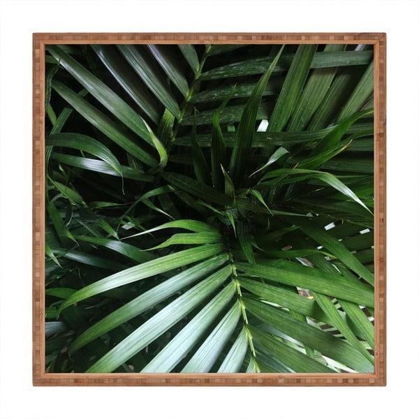 Tavă decorativă din lemn Fresh Leaves, 40x40cm