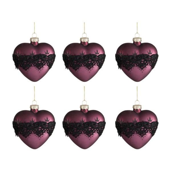 Sada 6 vánočních ozdob ve tvaru srdce Auberg