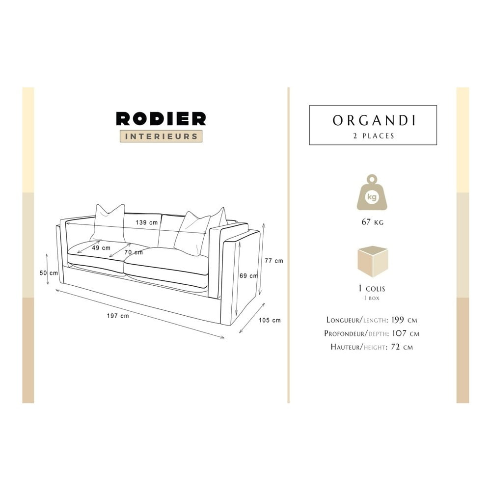 Canapea 2 locuri rodier organdi grand ro u bonami for Rodier interieur
