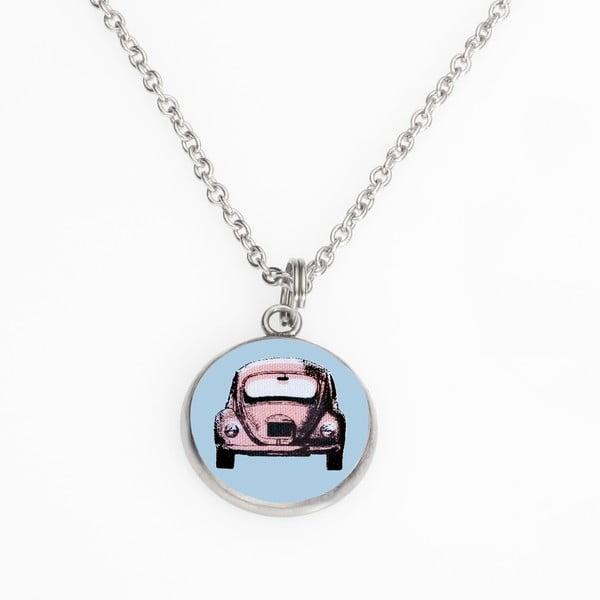 Řetízek s přívěskem Růžové autíčko parkuje v modré zóně od Lucie Markové