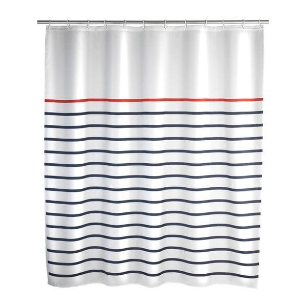 Bílomodrý sprchový závěs Wenko Marine White, 180 x 200 cm