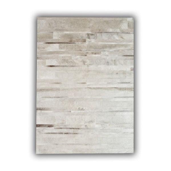 Koberec z pravé kůže Grey Stripes, 140x200 cm