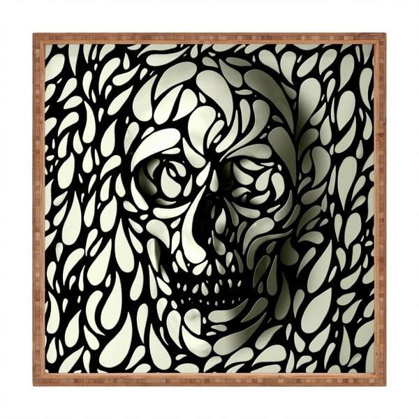 Tavă decorativă din lemn Skull, 40x40cm