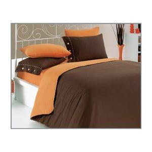 Povlečení Brown-Orange, 200x220 cm s prostěradlem