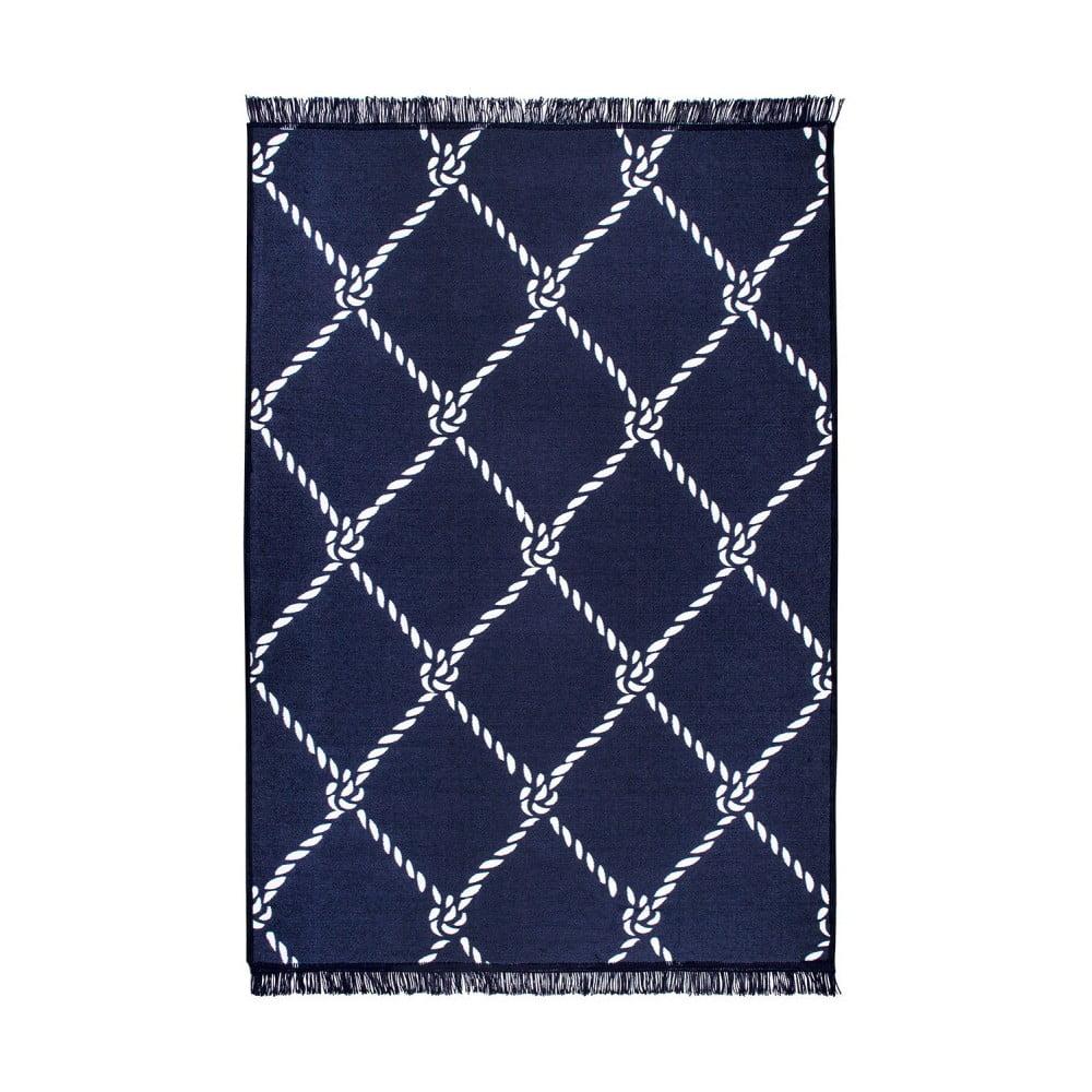 Modrobílý oboustranný koberec Homedebleu Rope, 80 x 150 cm