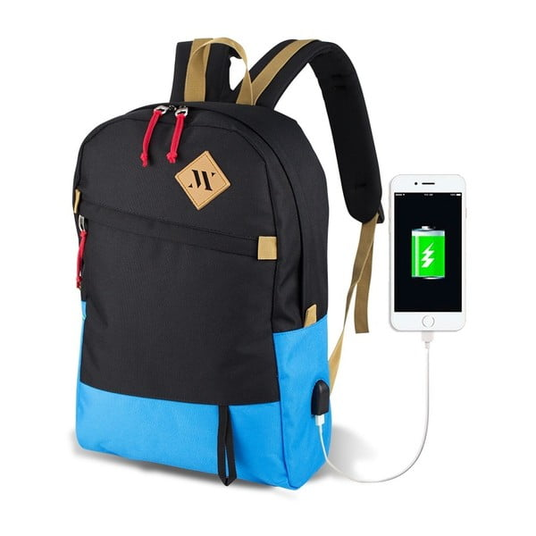 Czarno-turkusowy plecak z portem USB My Valice FREEDOM Smart Bag