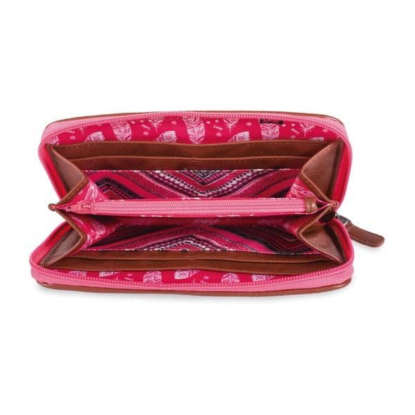 Růžovo-bílá peněženka Lois, 11 x 8 cm