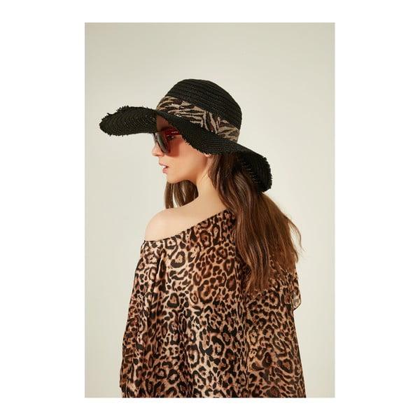 Čierny dámsky slamený klobouk Alexander McKensey Zebra