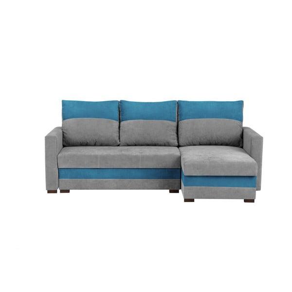 Šedo-modrá třímístná rohová rozkládací pohovka s úložným prostorem Melart Frida