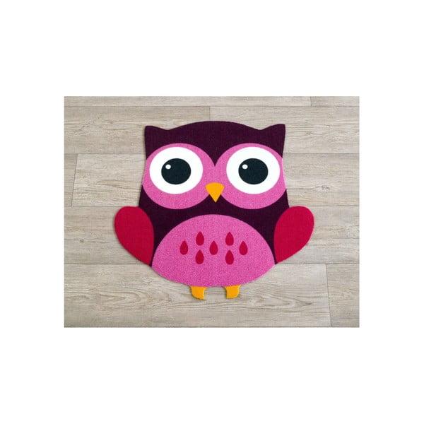 Dětský růžovo-hnědý koberec Sova, 66x66cm