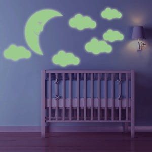 Svítící samolepka Měsíček a mraky, 60x30 cm