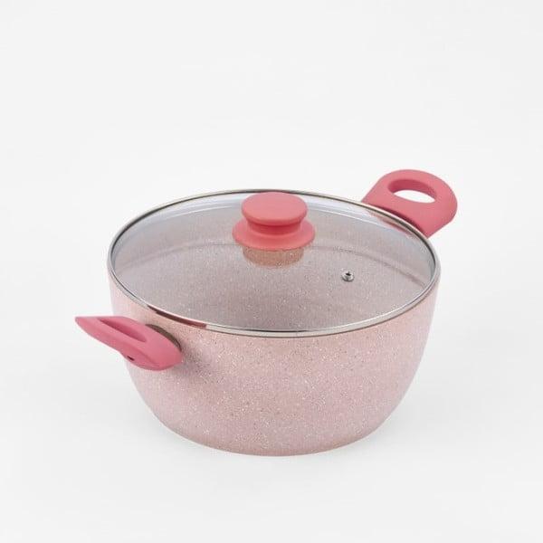 Hrnec s pokličkou a světle růžovými úchyty Bisetti Stonerose, 24 cm