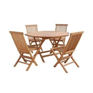 Venkovní stůl se 4 židlemi z teakového dřeva Santiago Pons Fabio