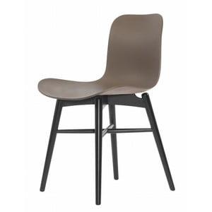 Hnědá  jídelní židle z masivního bukového dřeva NORR11 Langue Stained
