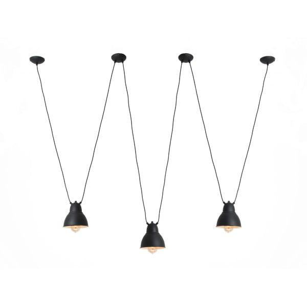 Čierne trojité závesné svietidlo s detailom v zlatej farbe Custom Form Coben Hangman