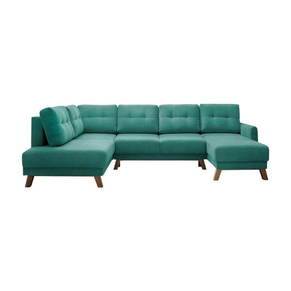 Turkusowa sofa rozkładana z szezlongiem Bobochic Paris Balio, lewy róg