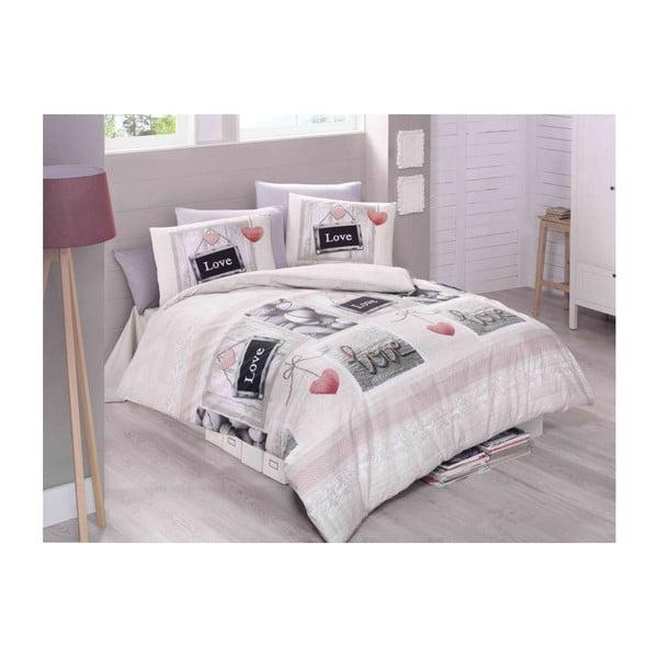 Lenjerie de pat cu cearșaf din bumbac Romantique, 200 x 220 cm