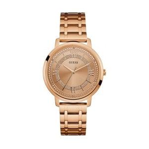 Dámské hodinky v růžovozlaté barvě s páskem z nerezové oceli Guess W0933L3