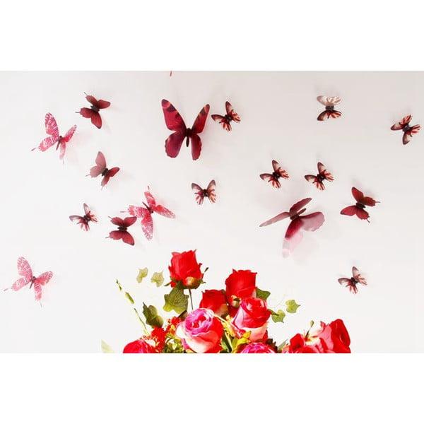 Trojrozměrné samolepky motýlků, barva červená