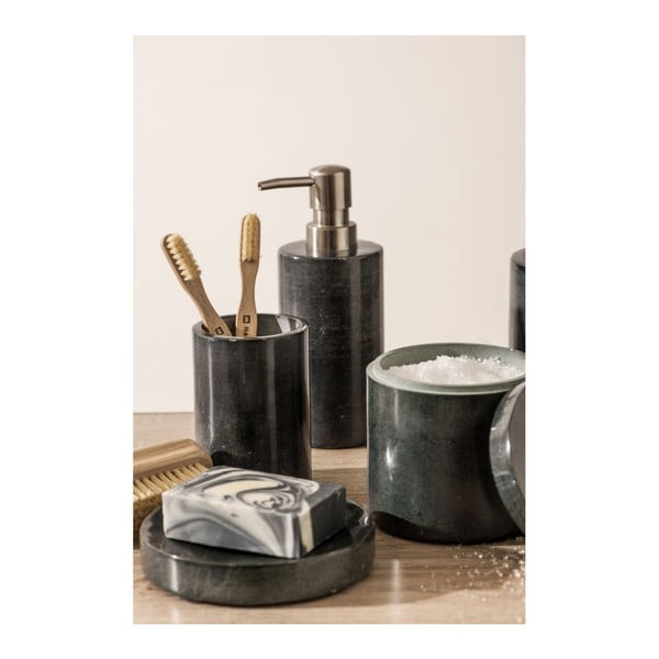 Tmavě šedá mramorová nádoba na vatové tamponky Premier Housewares