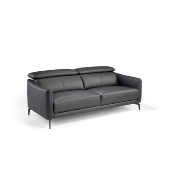 Canapea din piele cu 3 locuri Ángel Cerdá Sylvia gri antracit
