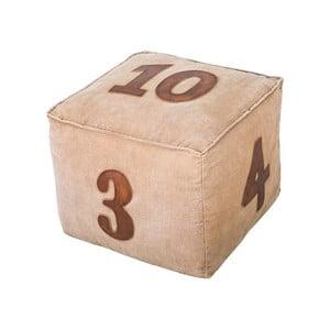 Kožený puf Antic Line Numéros, 40x40cm