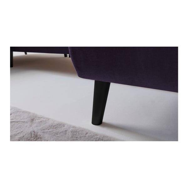 Fialová rozkládací pohovka s lenoškou Bobochic Paris Hera, levý roh