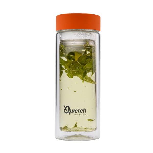 Borosilikátový termohrnek na čaj 350 ml, oranžové víčko