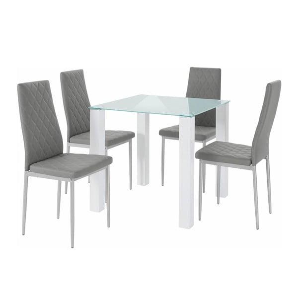 Sada stolu a 4 šedých židlí Støraa Nara