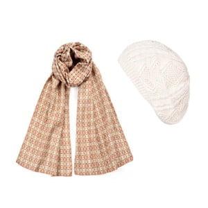 Bílá čepice se šálou Lavaii Elegant