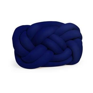 Tmavě modrý polštář Cloud Knot Decorative Cushion Velvet Effect, 40 x 32 cm