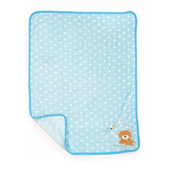 Pătură pentru copii Legler Bear, 100 x 80 cm, albastru