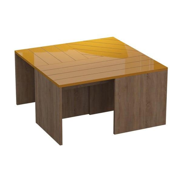 Hnědý konferenční stolek s hořčicově žlutou deskou Homitis Ramanu