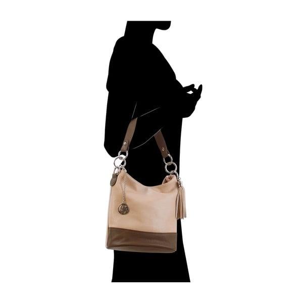 Kožená kabelka Luigi, pudrová/hnědá