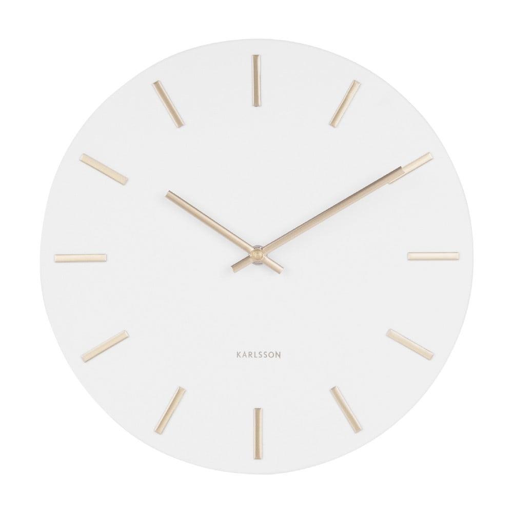 Bílé nástěnné hodiny s ručičkami ve zlaté barvě Karlsson Charm, ø 30 cm