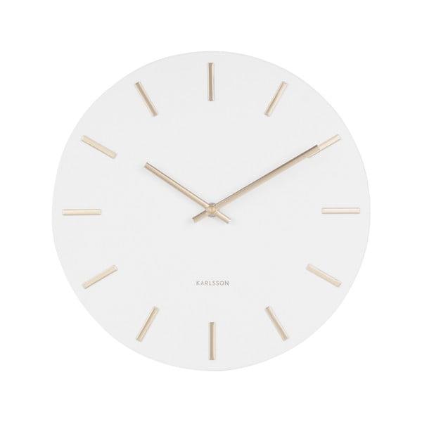 Biały zegar ścienny ze wskazówkami w złotym kolorze Karlsson Charm