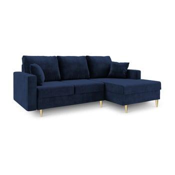 Canapea extensibilă cu 4 locuri și spațiu de depozitare Mazzini Sofas Muguet, pe partea dreaptă, albastru de la Mazzini Sofas