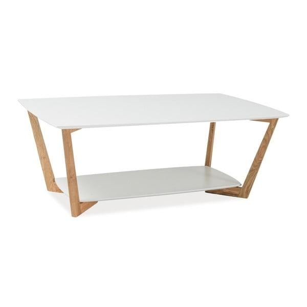 Bílý konferenční stolek s odkládacím prostorem Signal Larvik, délka120cm