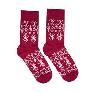 Červené bavlněné ponožky Hesty Socks Geometry, vel. 43-46