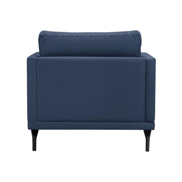 Tmavě modré křeslo s podnožím v černé barvě Windsor & Co Sofas Jupiter