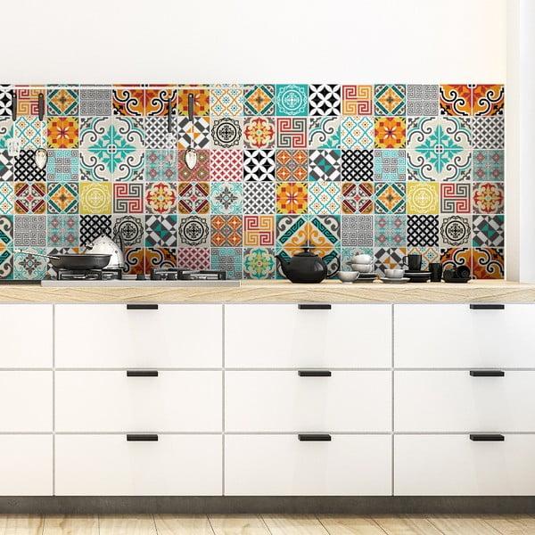 Sada 60 dekorativních samolepek na stěnu Ambiance Batista, 15 x 15 cm