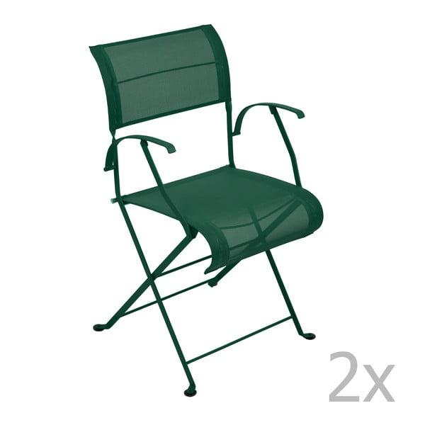 Sada 2 zelených skládacích židlí s područkami Fermob Dune