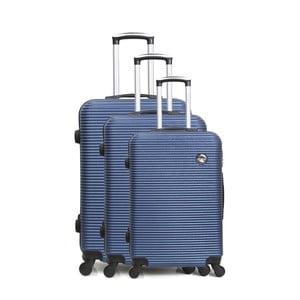 Sada 3 modrých cestovních kufrů na kolečkách Bluestar Vanity