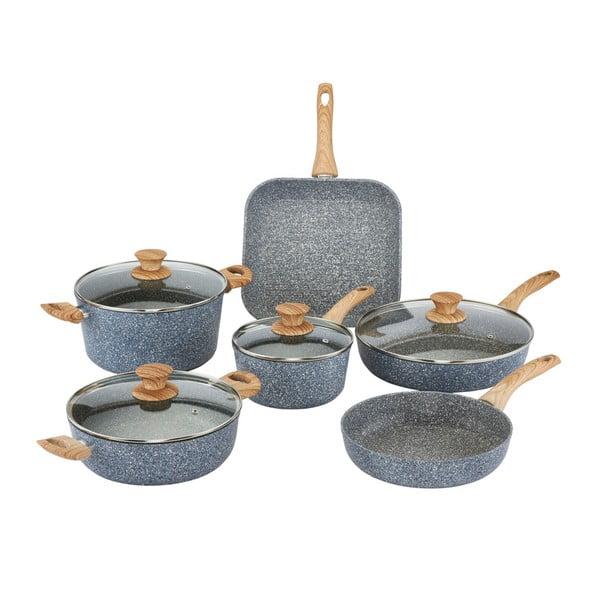 Pierre Gourmet 6 db-os edénykészlet fedőkkel és fa mintázatú fülekkel - Bisetti