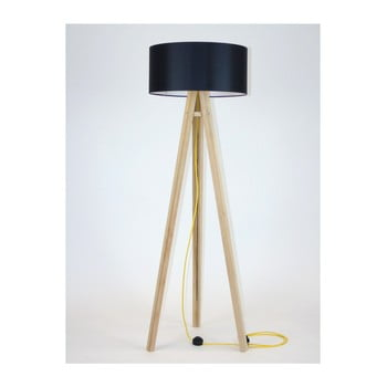 Lampadar cu abajur negru și cablu galben Ragaba Wanda imagine