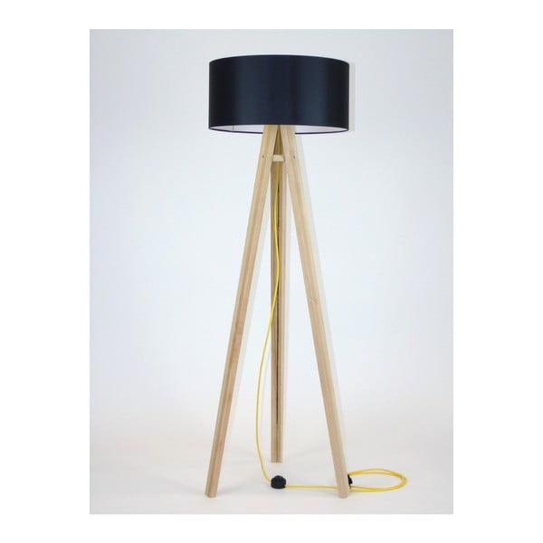 Wanda állólámpa fekete lámpabúrával és sárga kábellel - Ragaba