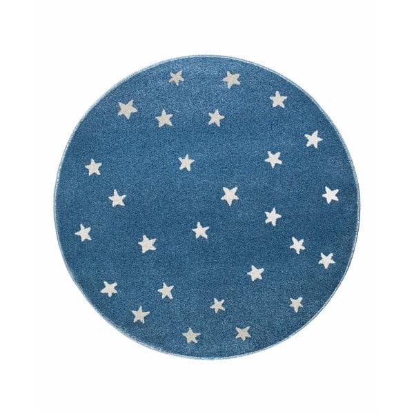 Stars kék, kerek szőnyeg csillag mintával, 80 x 80 cm - KICOTI