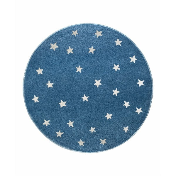 Modrý kulatý koberec s hvězdami KICOTI Stars, ø 80 cm