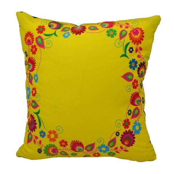 Polštář s náplní Folk Flowery Lime, 40x40 cm